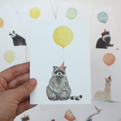 raccoon ballon card
