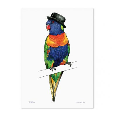 Rainbow Lorikeet in a Polka Dot Bowler by Alice Tams
