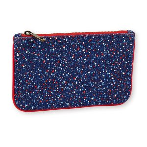 canvas and leather pouch, perfect purse or small makeup bag