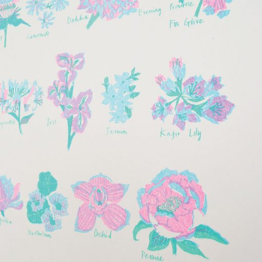 Flower Alphabet Risograph by East End Press