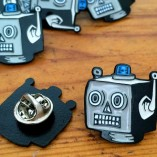 robot enamel pin, robots, retro, woah there pickle