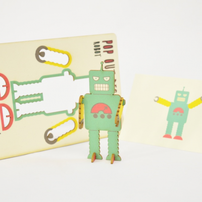 robot - made - pop out card
