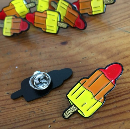 rocket lolly enamel pin, ice lolly, retro, woah there pickle