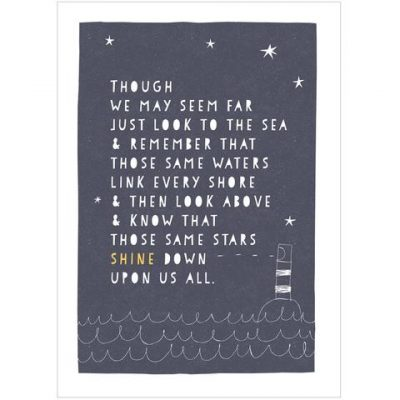 Sea and Stars Print, beautiful print by Freya Illustration