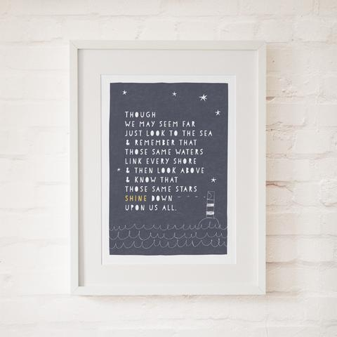Sea and Stars Print, beautiful print by Freya Illustratio