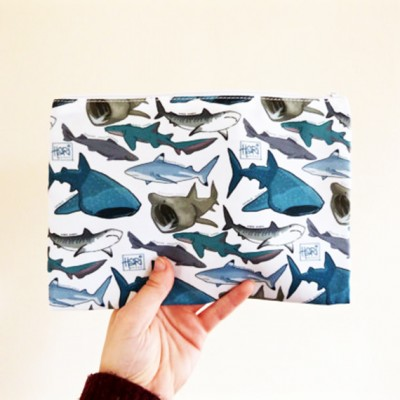 zip case, pencil case, sharks, great white, hari draws