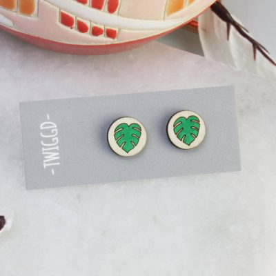 small round monstera studs