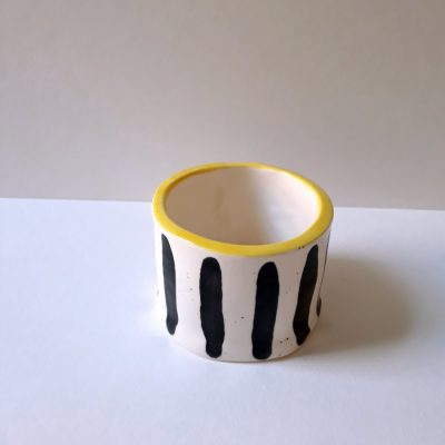 small yellow stripe pot