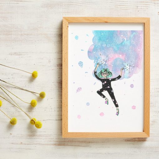 sparkles, girl, jumping, positive, happy, and smile, illustration