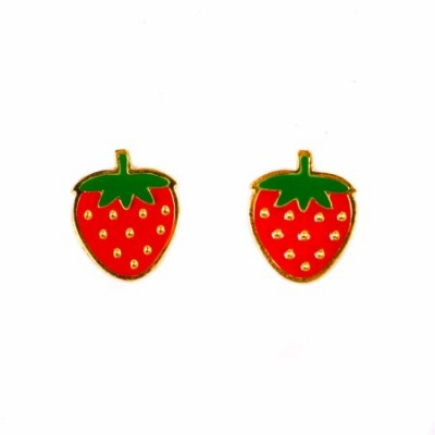 strawberry earrings, enamel jewellery, acorn and will, fruity