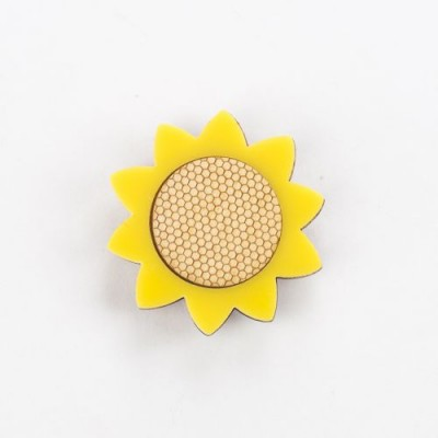 sunflower, flowers, yellow flowers, hello sunshine, bright yellow, laser etched, honeycomb, floral jewellery