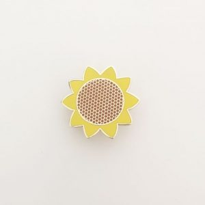 sunflower pin, enamel pin, flowers, yellow, hello sunshine
