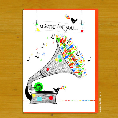 A black and white illustrated gramaphone over floas with bright shape, music notes and some birdies join in.