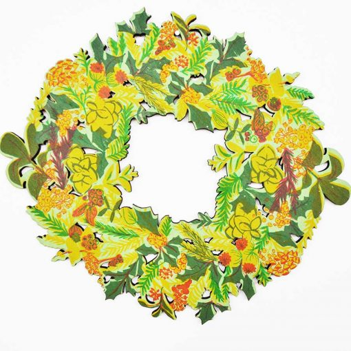 christmas wreath, floral, screen printed,east end press