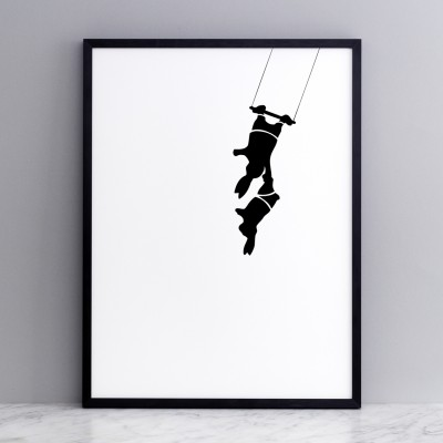 trapeze rabbit by Ham in a black frame