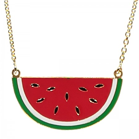watermelon necklace, enamel jewellery, acorn and will, fruity
