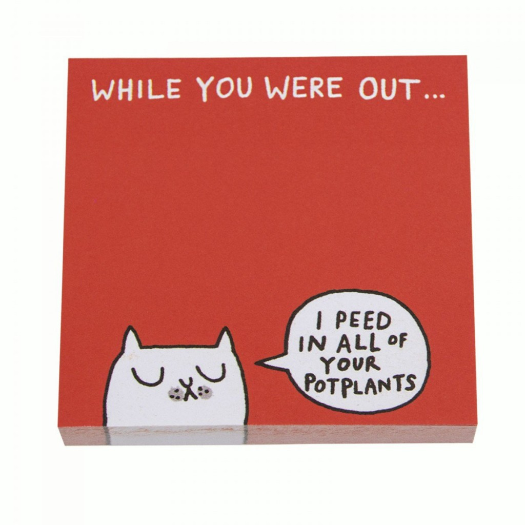 while you were out - cat post it notes by gemma correll#