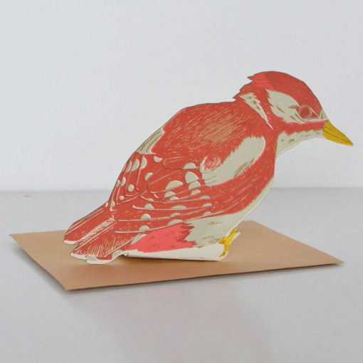 woodpecker, scottish bird, standing card, screen printed, greeting card