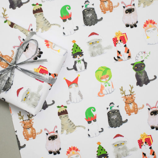 Cats In Christmas Hats Gift Wrap by Jo Clark