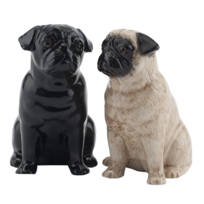 Pug Salt and Pepper Shakers by Quail Ceramics