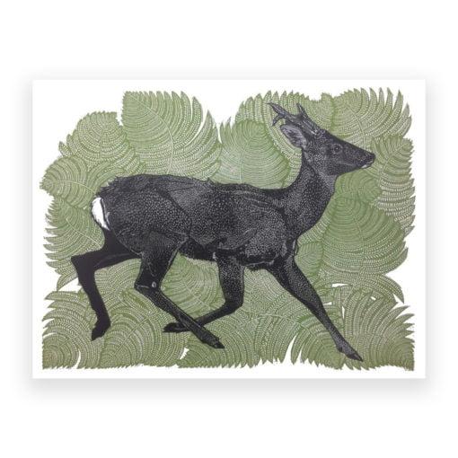 Running Deer Linocut by Babs Pease