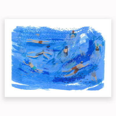 Swimmers Screen Print by Lousie Smurthwaite