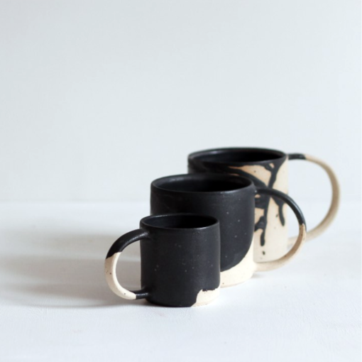 Black Wave Stoneware Cup by KJA Studio