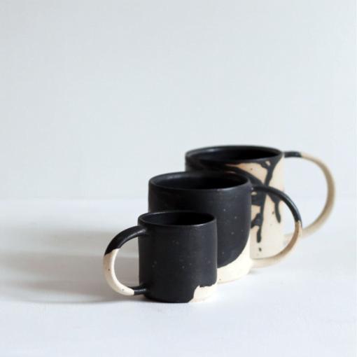 Black Wave Stoneware Cup by KJA Studio