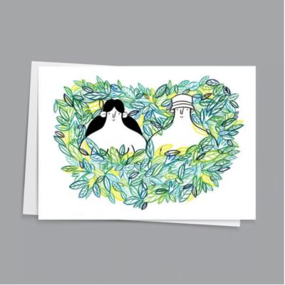 Leafy Lovers Card by Hattie Clark