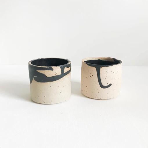 Black Glaze Stoneware Hand Cup by KJA Studio
