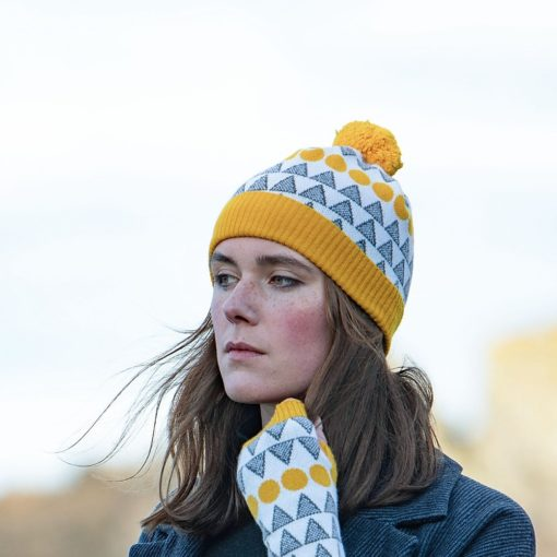 Solar Hat in Mustard and Grey by Island Nation Studio