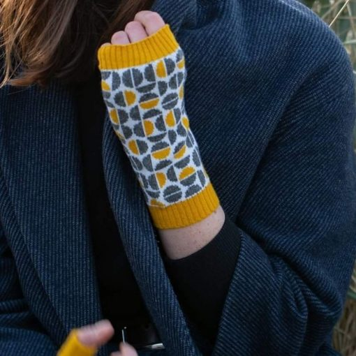 Spheres Mustard Wrist Warmers by Island Nation