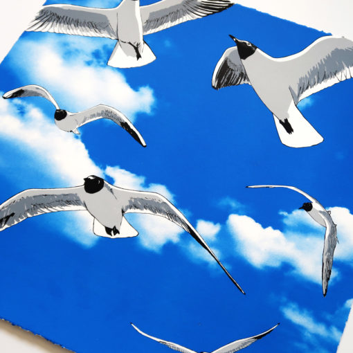 Colony of Black Headed Gulls Screen print in 5 layers Edition of 50 Signed, titled and numbered 45 x 45 cm