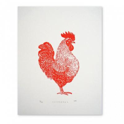 Cockerel Linocut Print by Jeff Josephine Design