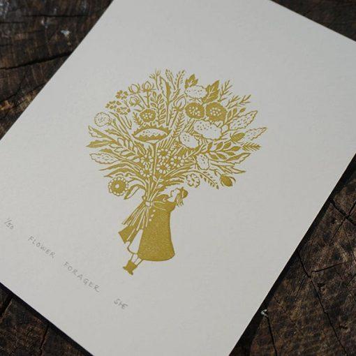 Flower Forager Linocut print by Jeff Josephine Design