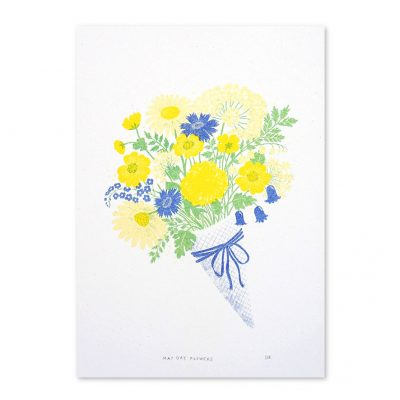 May Day Flowers Risograph Print by Jeff Josephine Design