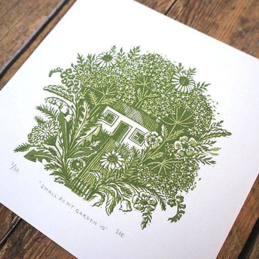 Small As My Garden Linocut Print by Jeff Josephine