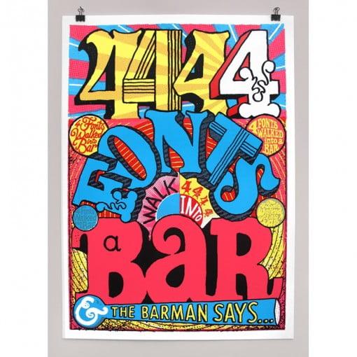 4 fonts, bar, beer, jokes, andy smith, screen print, bright, red door gallery, beer cheers