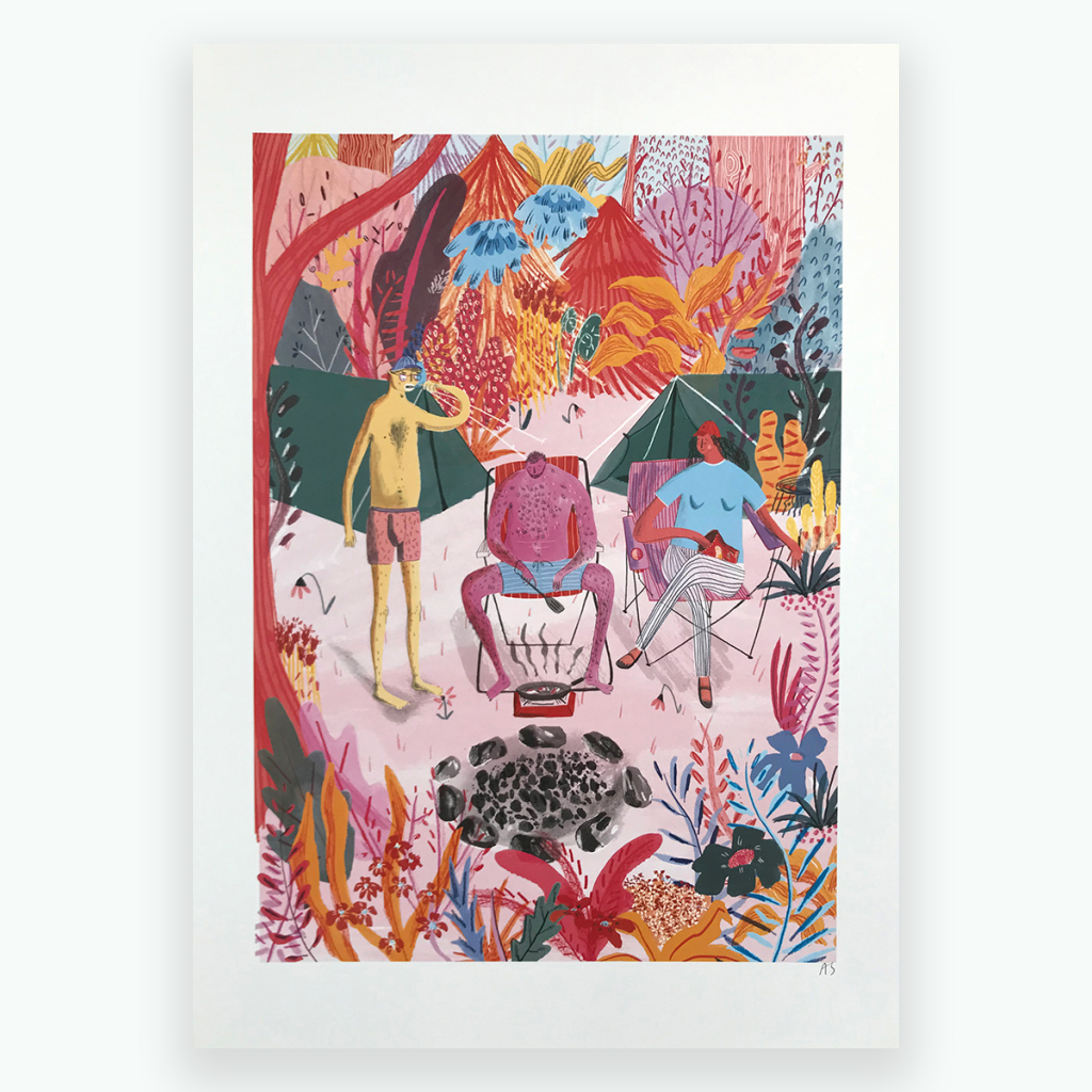 Amy Steel Campers Print for ECA Maps Exhibition