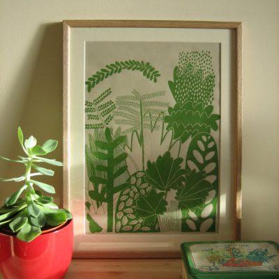 Botanical screenprint by louise smurthwaite