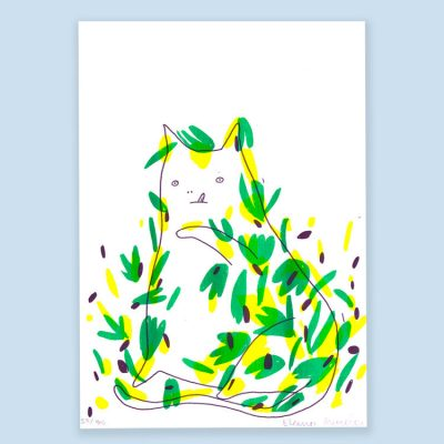 Cat V Plant Print