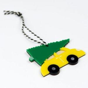 Christmas Tree, Car, Christmas Decs, Decoration, Acrylic, Wood, Christmas Tree