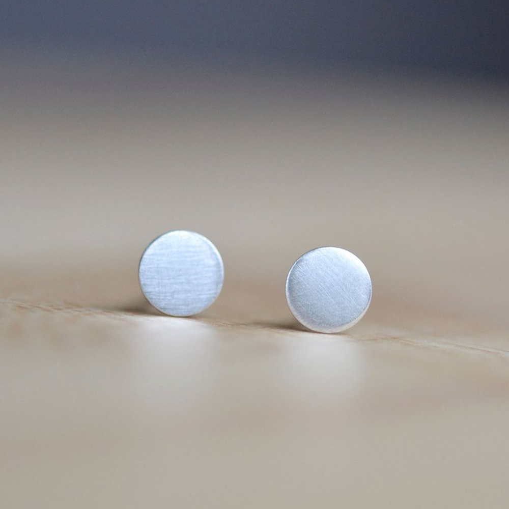 Silver Circle Studs by Darte