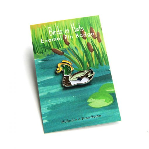 Duck in a Boater Hat Enamel Pin by Alice Tams
