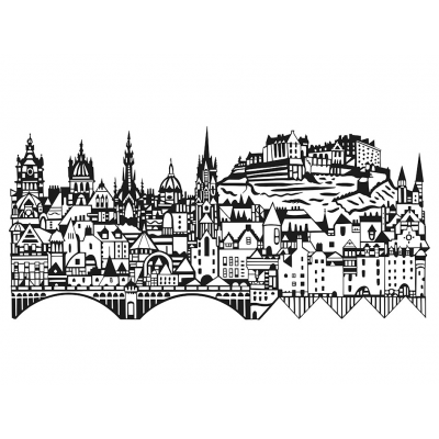 Edinburgh Skyline Screenprint by Susie Wright-sq