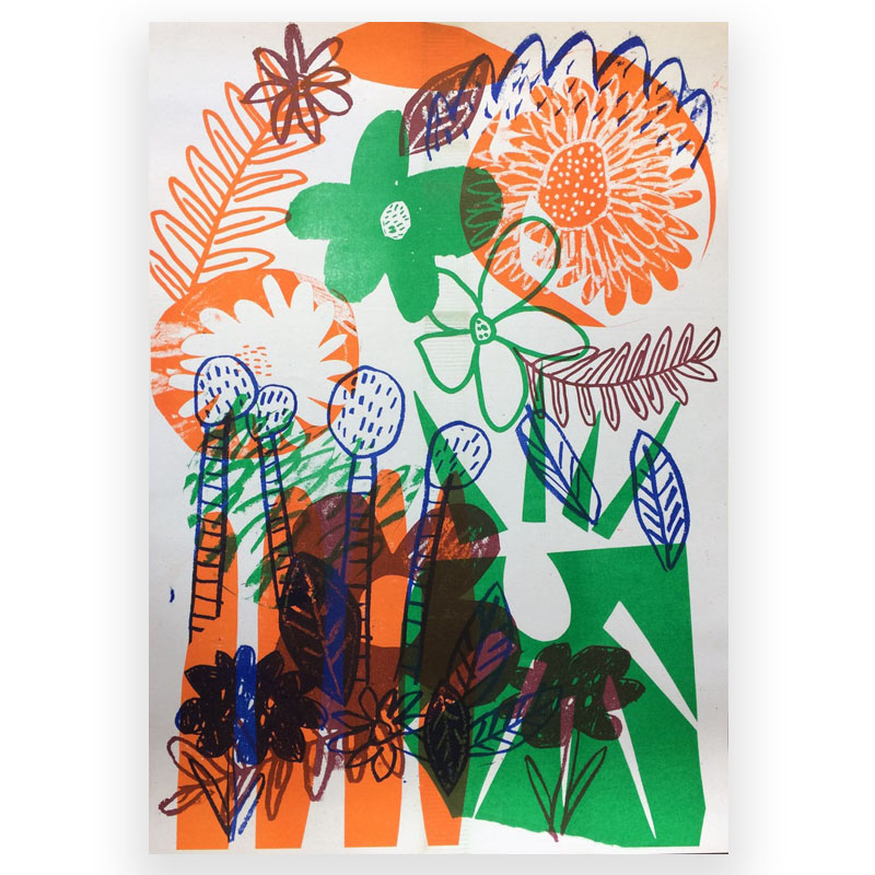 Flower Power Risograph by Louise Smurthwaite