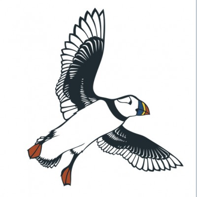 Flying Puffin Card Emily Hogarth