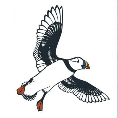 Flying Puffin Card Emily Hogarth