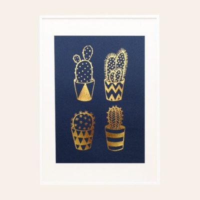 Gold Foil Cacti A4 Screen Print on Navy by Hello Marilu for The Red Door Gallery