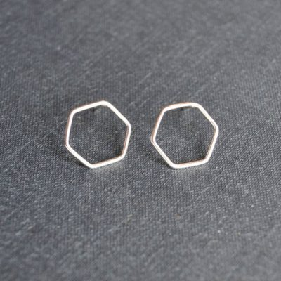 Silver Hexagon Earrings by Darte Jewellery